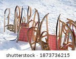 Traditional wood sleighs in the ...