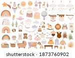 set of cute boho baby objects... | Shutterstock .eps vector #1873760902