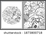coloring pages set with cute... | Shutterstock .eps vector #1873800718