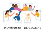 online party during quarantine...   Shutterstock .eps vector #1873803148