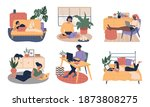 young freelance man and woman...   Shutterstock .eps vector #1873808275