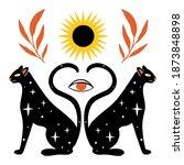 esoteric doodle illustration.... | Shutterstock .eps vector #1873848898