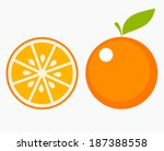 orange fruit with leaf and... | Shutterstock .eps vector #187388558