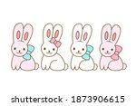 cute kawaii bunny. boy and girl....   Shutterstock .eps vector #1873906615