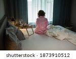 drunk woman in depression is in ... | Shutterstock . vector #1873910512
