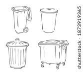 trash bin in doodle style.... | Shutterstock .eps vector #1873919365