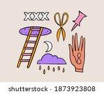 fun groovy retro set. 70s 80s... | Shutterstock .eps vector #1873923808