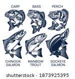 Set Of Fish Emblems Vintage...