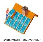 solar panels installation.... | Shutterstock .eps vector #1873928932