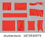 colored fabric banners.... | Shutterstock .eps vector #1873930975