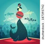acrobatic seal show. vector... | Shutterstock .eps vector #187393742