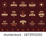 grill and barbecue logos set... | Shutterstock .eps vector #1873953202