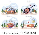 salmon steak set. chef cooking...   Shutterstock .eps vector #1873958368