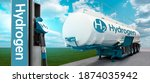 Small photo of Tank trailer with hydrogen and H2 filling station on the background of a green field and blue sky. Renewable energy