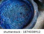 Indigo Color In Clay Pot For...