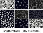 collection of vector seamless... | Shutterstock .eps vector #1874136088