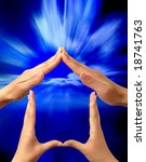 Made from hands conceptual symbol home on bright blue background - stock photo