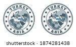 turkey round logos. circular... | Shutterstock .eps vector #1874281438