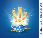 win a prize giftbox vector...   Shutterstock .eps vector #1874342518