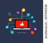 social media flat concept   Shutterstock .eps vector #187440338