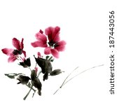 hibiscus flower. ink painting ... | Shutterstock .eps vector #187443056