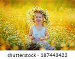 a lovely little smiling girl in ... | Shutterstock . vector #187443422