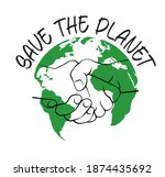 save the planet icon and emblem.... | Shutterstock .eps vector #1874435692