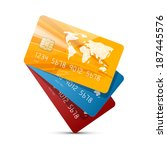 colorful vector credit cards... | Shutterstock .eps vector #187445576
