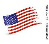 vector american flag   dirty ... | Shutterstock .eps vector #187445582
