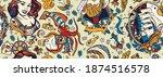 sea adventure vintage seamless... | Shutterstock .eps vector #1874516578