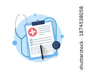 clipboard with stethoscope ...   Shutterstock .eps vector #1874538058