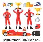 race driver set  flat vector...   Shutterstock .eps vector #1874555128