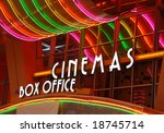 Neon Signs At Movie Theater Bo...
