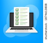 laptop with online exam on... | Shutterstock .eps vector #1874613808