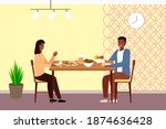 table with fruit  salad and...   Shutterstock .eps vector #1874636428