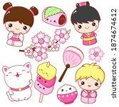 Set Of Cute Icons In Kawaii...