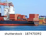 container stack and ship under... | Shutterstock . vector #187470392