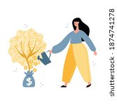 woman water money tree with... | Shutterstock .eps vector #1874741278