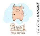 happy bull on blue background... | Shutterstock .eps vector #1874744782