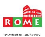 rome  colosseum illustration   Shutterstock .eps vector #187484492