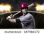 baseball player on a pink... | Shutterstock . vector #187486172