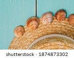 Straw Travel Hat And Seashells...