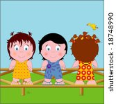 three little kids on a fence | Shutterstock .eps vector #18748990