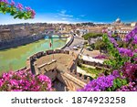 Eternal city of Rome. Panoramic colorful view over Tiber river and historic Rome landmarks. Capital of Italy