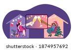 covid christmas online... | Shutterstock .eps vector #1874957692