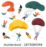 skydivers with parachutes....   Shutterstock .eps vector #1875089398