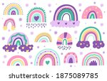 doodle nursery rainbows. hand...   Shutterstock .eps vector #1875089785