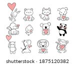 set of cartoon animal with... | Shutterstock .eps vector #1875120382