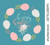 easter eggs with flowers in a... | Shutterstock .eps vector #1875128095