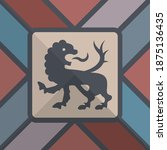 hand drawn heraldic lion ... | Shutterstock .eps vector #1875136435